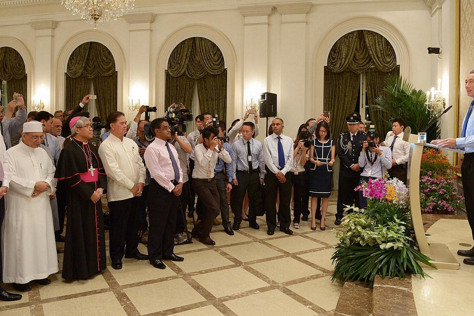 Prime Minister Lee Hsien Loong at the 66th anniversary dinner of the Inter-Religious Organisation (IRO). A new museum will be set up here to encourage religious tolerance and harmony, Mr Lee said on Tuesday. -- ST PHOTO: DESMOND WEE