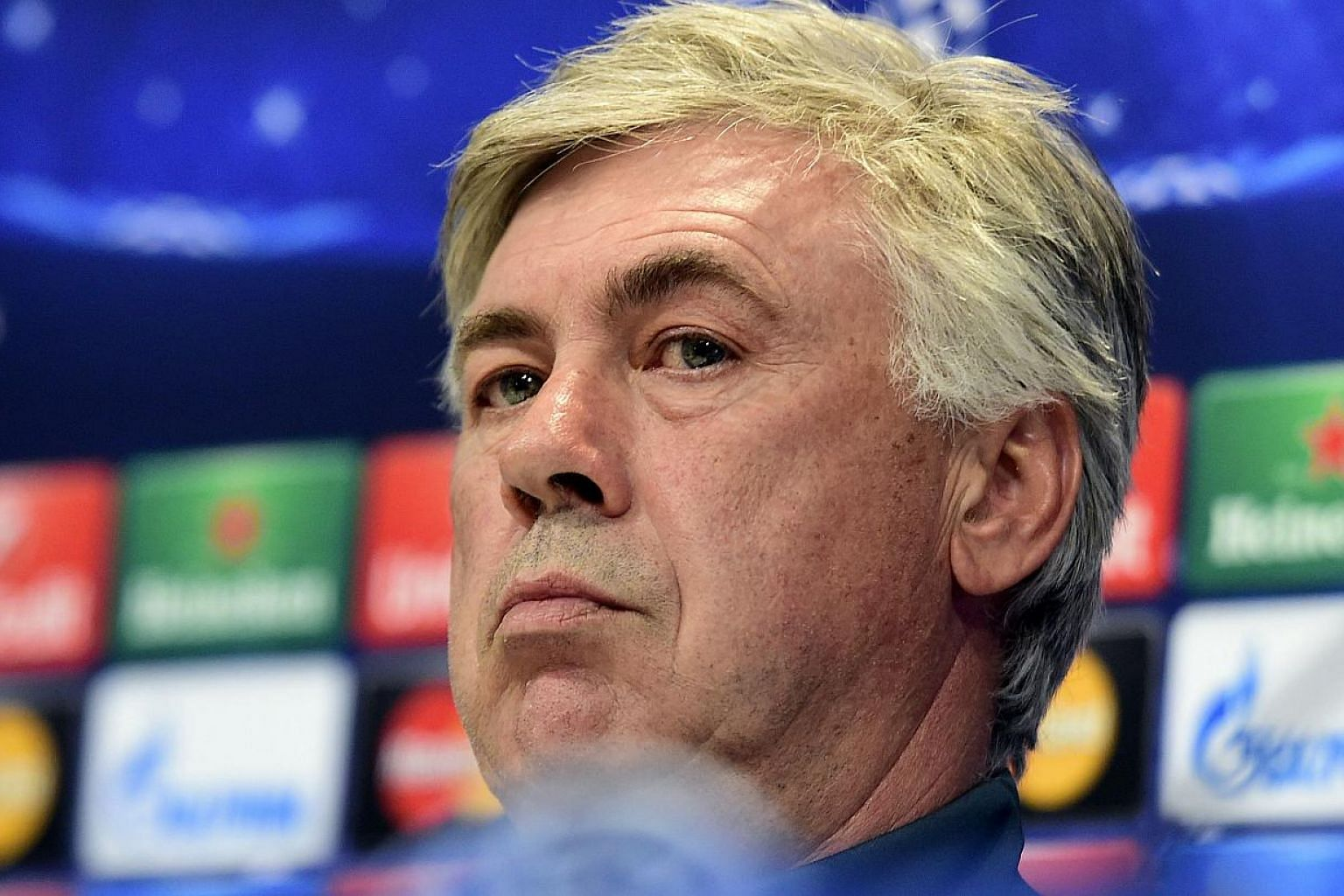"""""""This is a world in which a lot of people talk and sometimes they talk too much,"""" Ancelotti told a news conference on Tuesday. -- PHOTO: AFP"""