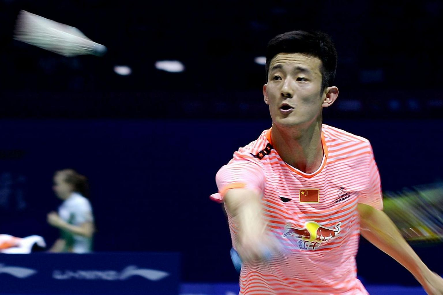 China's Chen Long returns the shuttlecock to Thailand's Boonsak Ponsana during their men's single match at the 2015 Sudirman Cup world badminton championships on May 12, 2015. -- PHOTO: AFP