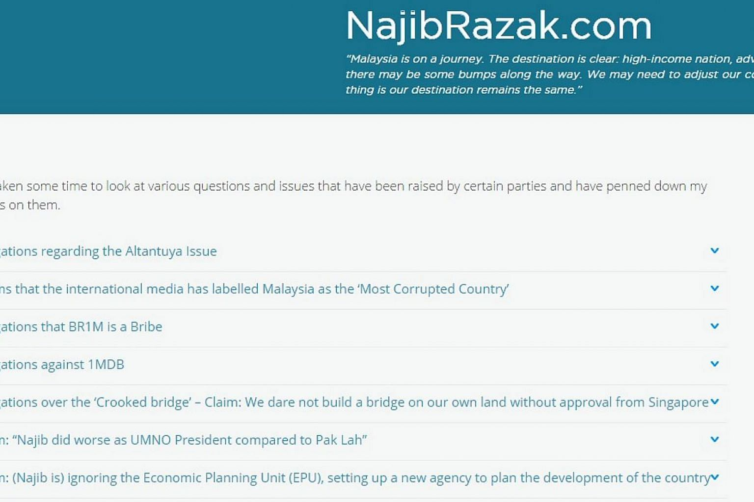 Malaysian Prime Minister Najib Razak has posted FAQs (Frequently Asked Questions) on his blog in an unprecedented move to silence questions about his leadership by critics such as former premier Mahathir Mohamad. Here's a screengrab from his blog. --