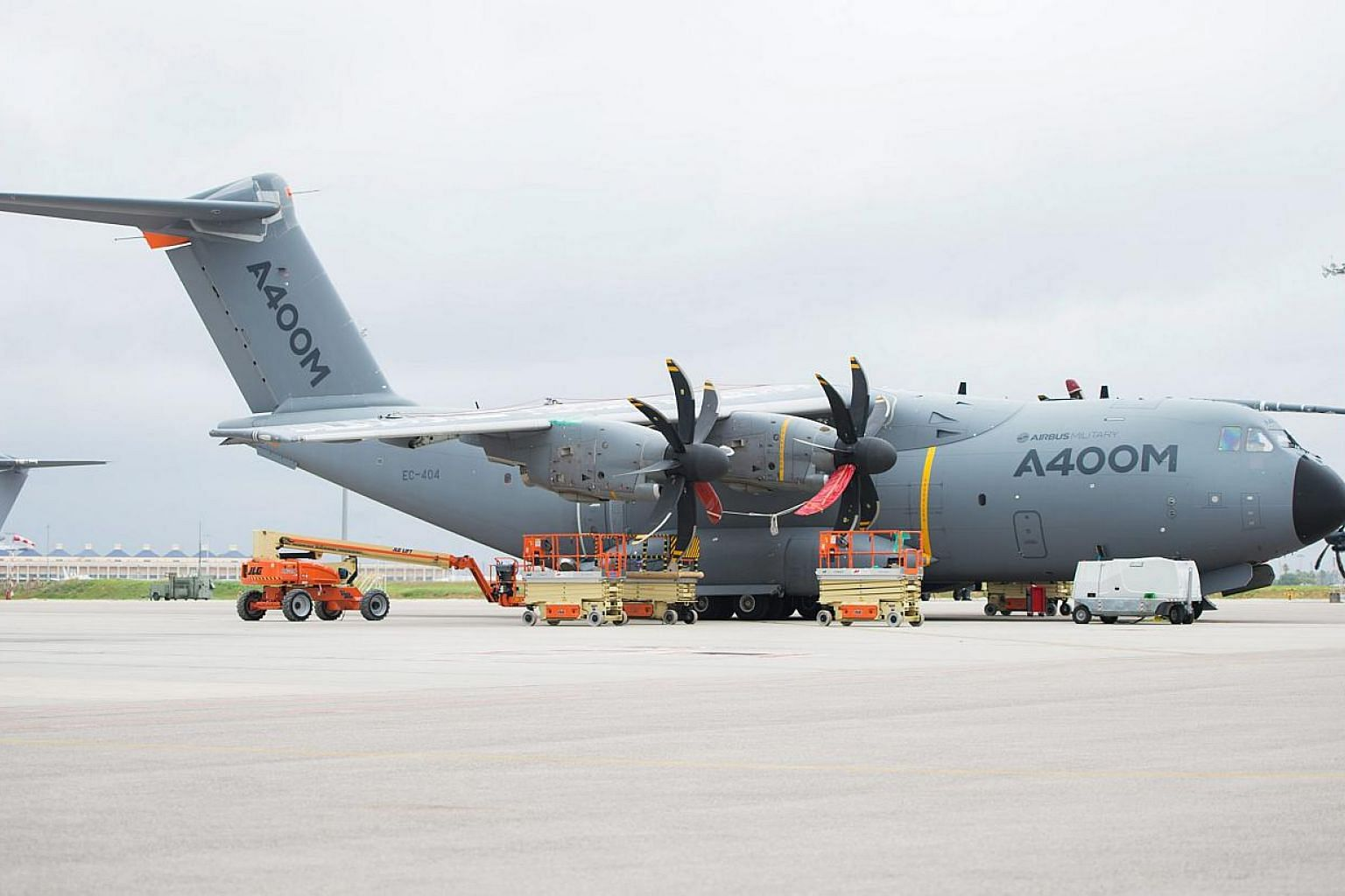 A file picture dated Nov 7, 2014, shows an Airbus A400M plane at the airport in Seville, Spain. -- PHOTO: EPA