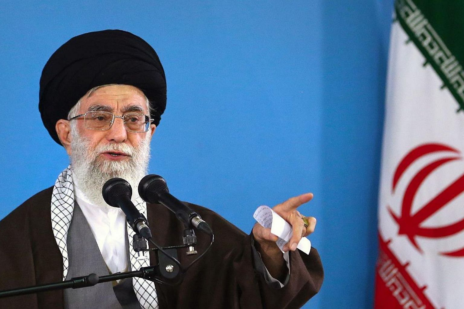 Iran's supreme leader Ayatollah Ali Khamenei on Wednesday, May 20. 2015, ruled out allowing nuclear inspectors to visit military sites or to question scientists, state media reported. -- PHOTO: AFP / HO / KHAMENEI.IR