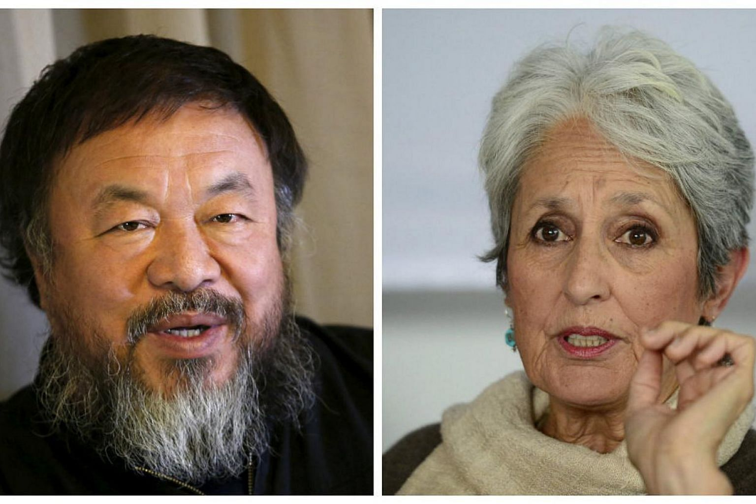 Human rights group Amnesty International on Thursday honoured Chinese dissident artist Ai Weiwei (above left) and US folk singer Joan Baez (above right) as joint winners of its Ambassador of Conscience Award. -- PHOTOS: REUTERS, AFP