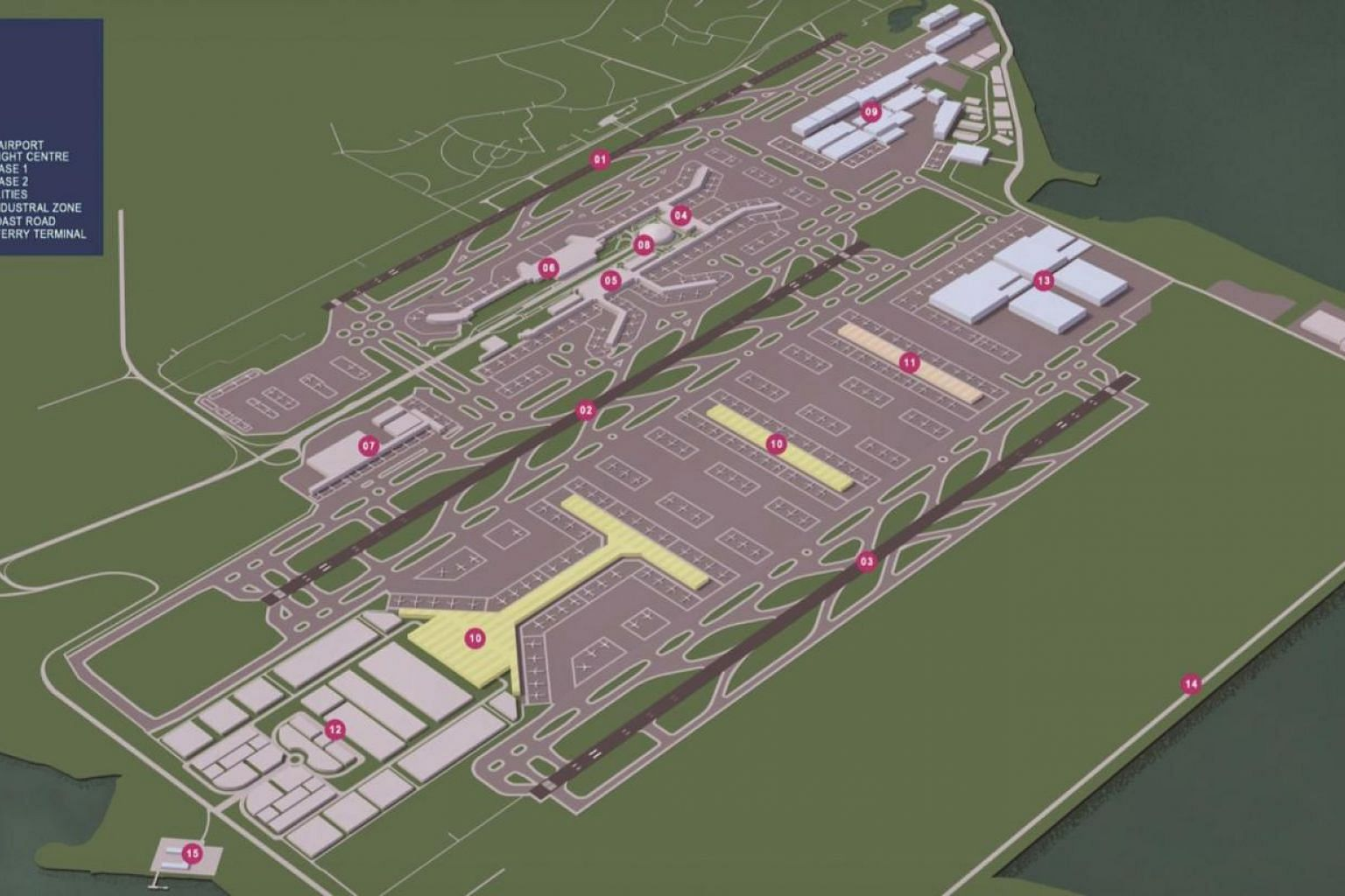 The finalised Terminal 5 Concept Plan. Site surveys, soil investigations and clearance works have been done and the team is now focused on ground improvement works. -- PHOTO: MINISTRY OF TRANSPORT