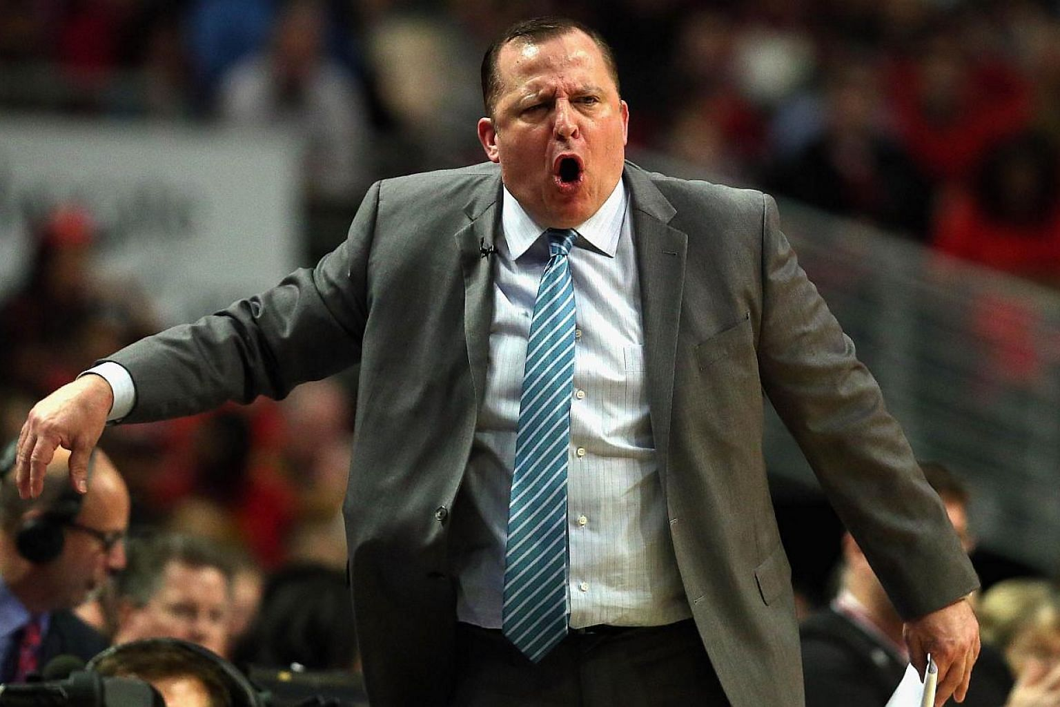 Head coach Tom Thibodeau of the Chicago Bulls yelling at a referee against the Cleveland Cavaliers in Game Four of the Eastern Conference Semifinals of the 2015 NBA Playoffs at the United Center on May 10, 2015 in Chicago, Illinois. -- PHOTO: AFP