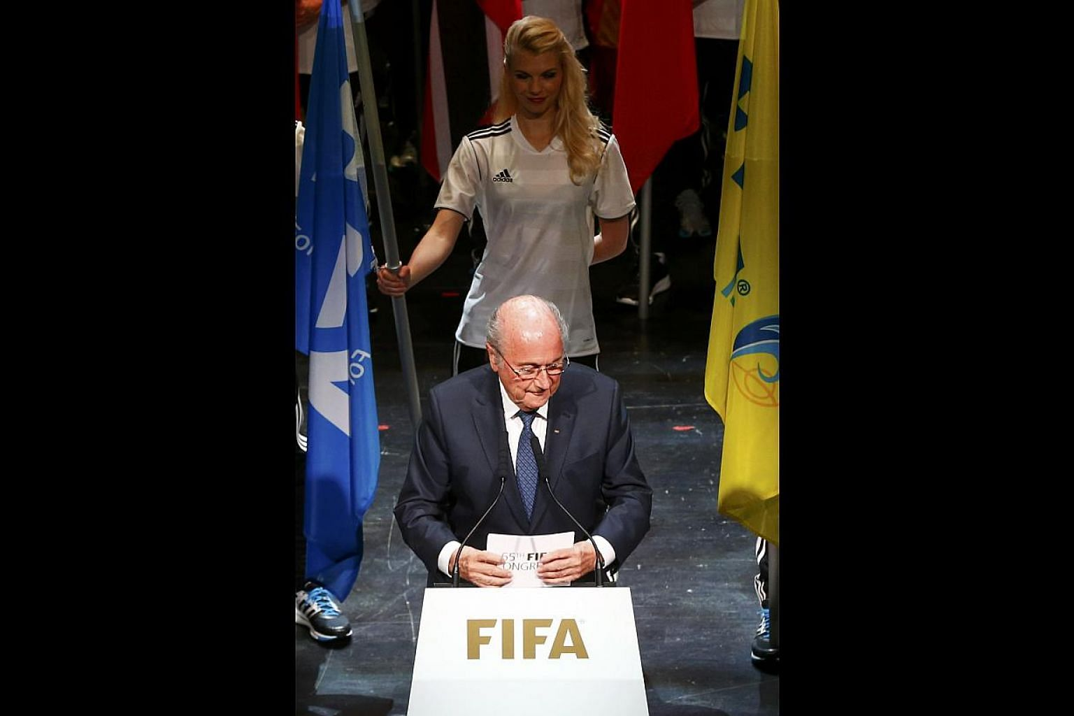 Fifa president Sepp Blatter at the opening ceremony of the 65th Fifa Congress in Zurich last week. The way the organisation is set up means that pressure from sponsors could be the only way that things will change.