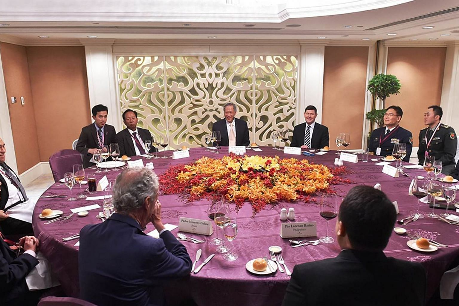 A ministerial luncheon, attended by 10 Ministers and representatives, in conjunction with the 14th Shangri-La Dialogue in Singapore on May 31, 2015. -- PHOTO: MINDEF