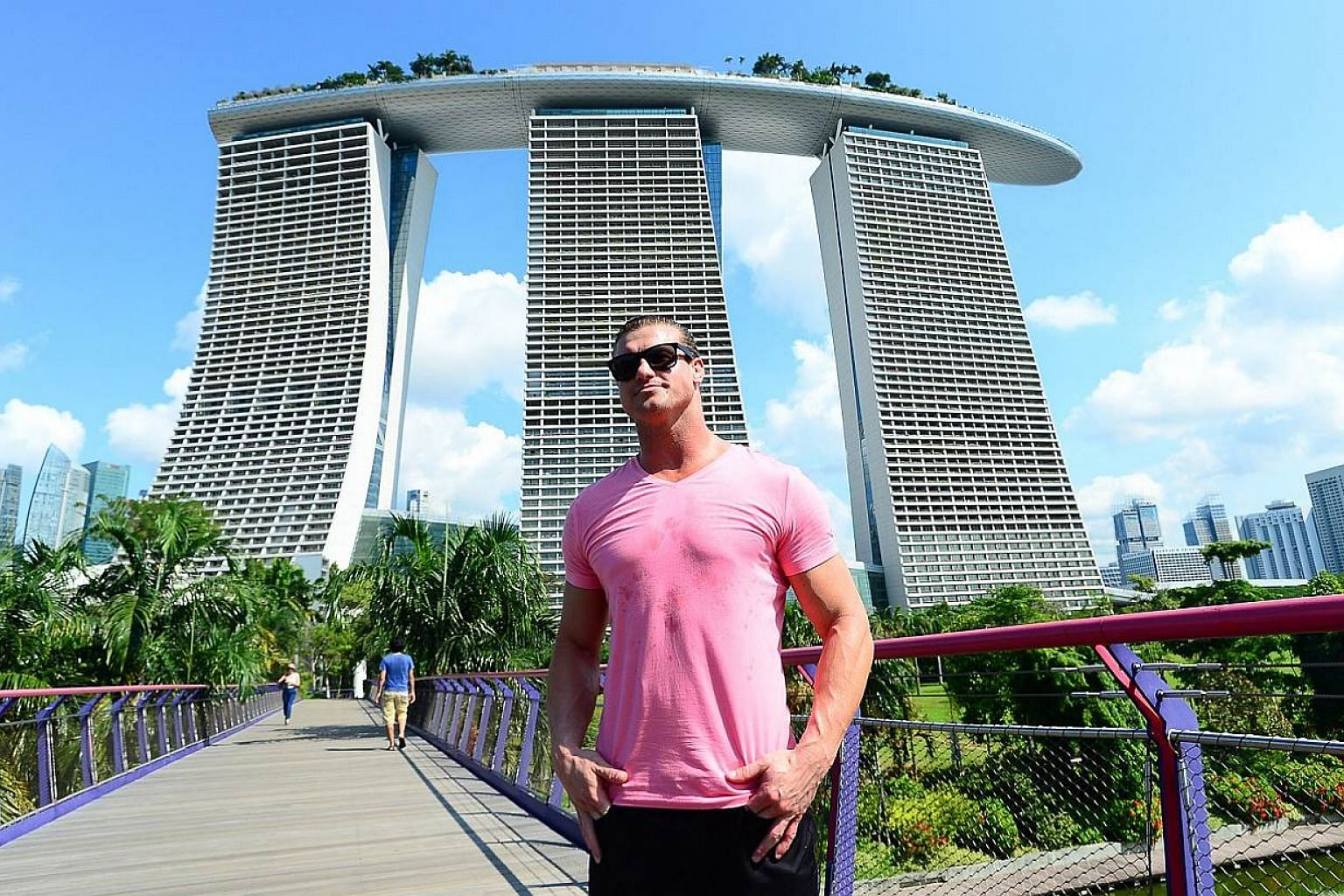 WWE Superstar Dolph Ziggler stands majestic in front of the iconic Marina Bay Sands on May 29, 2015. -- PHOTO: WWE