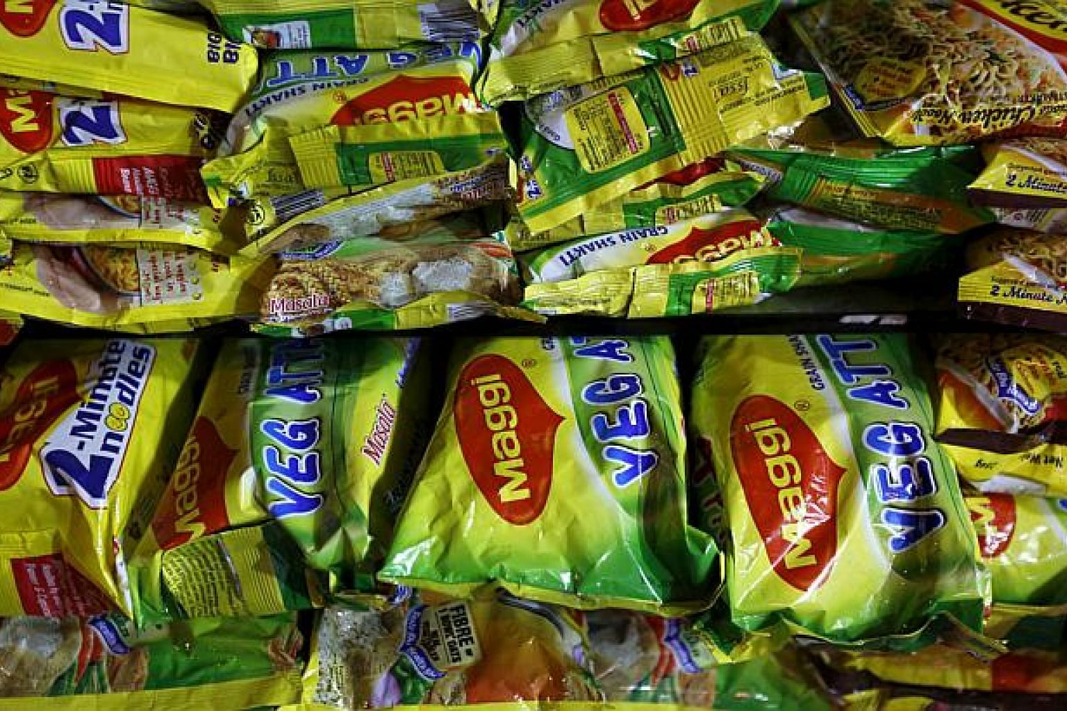 Packets of Nestle's Maggi instant noodles are seen on display at a grocery store in Mumbai, India, on June 3, 2015. Singapore importers have been ordered to suspend the sale of Maggi brand instant noodles produced in India, the Agri-Food and Veterina