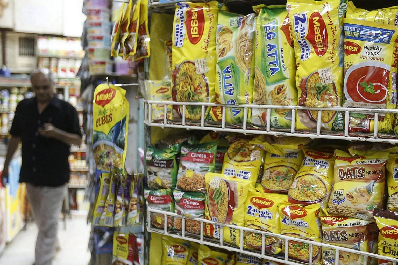 Packets of Nestle's Maggi instant noodles are seen on display at a grocery store in Mumbai, India, on June 4, 2015. -- PHOTO: REUTERS