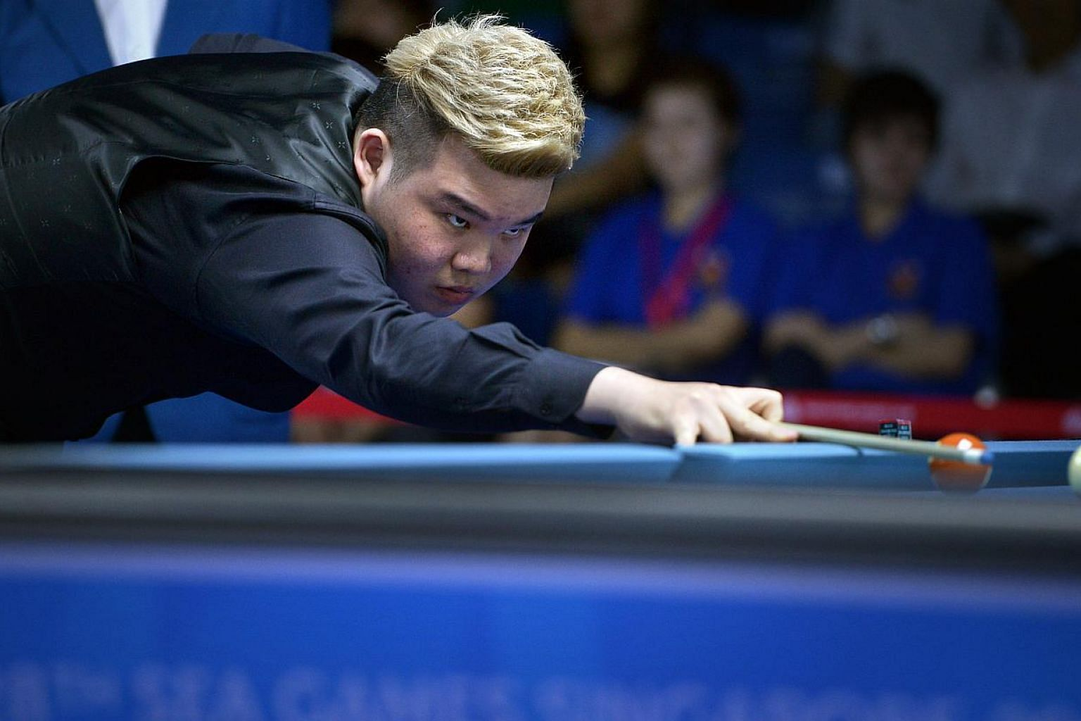 Singapore's Aloysius Yapp, the reigning world Under-19 pool champion, crashed out of the SEA Games 9-ball event after losing in the quarter-finals on June 9, 2015. -- ST PHOTO: KUA CHEE SIONG