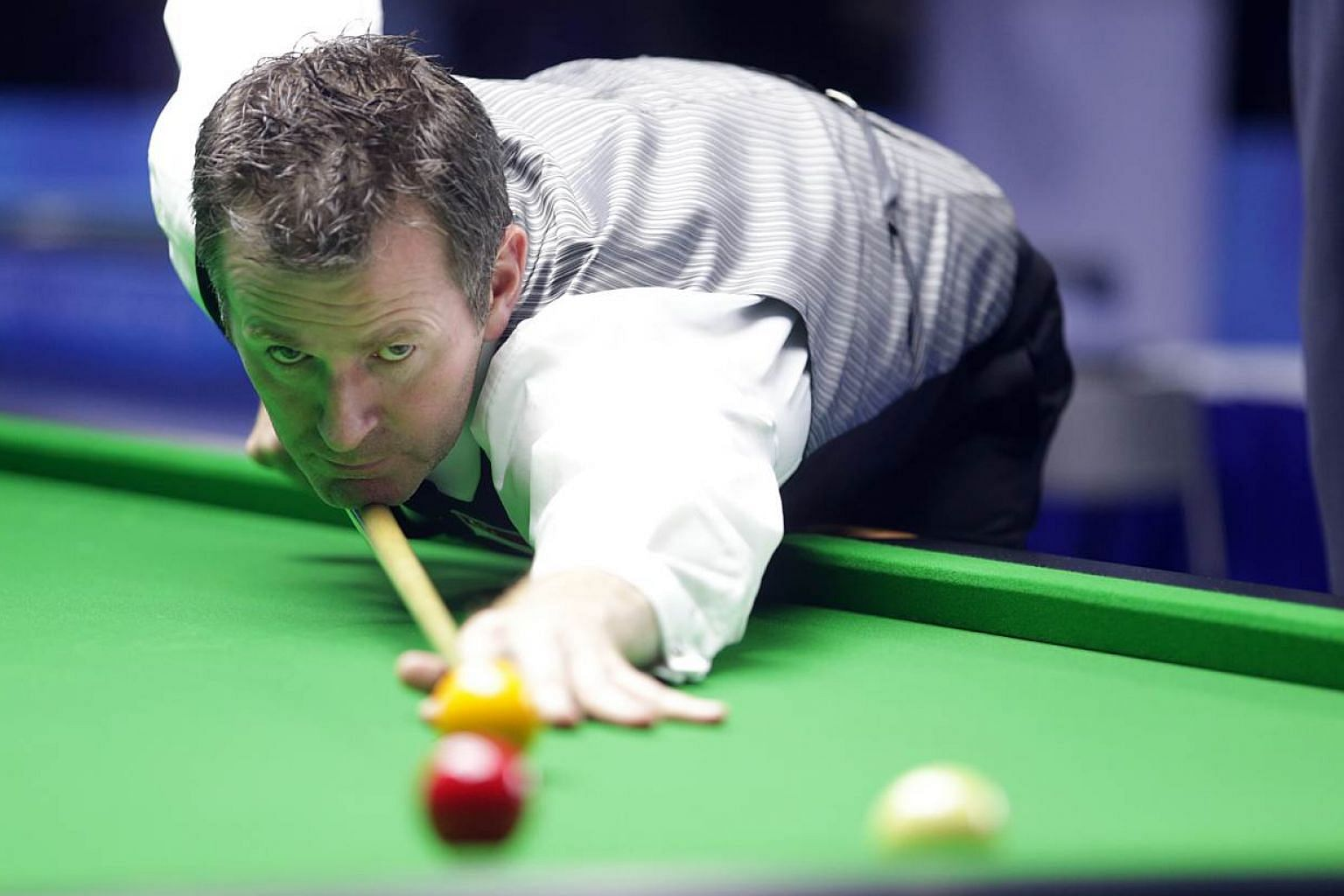 Gilchrist (pictured), who has already won the English billiards singles (500) and English billiards singles titles in this SEA Games, will try to complete his hat-trick in the English billiards team event on Wednesday. -- PHOTO: ZAOBAO