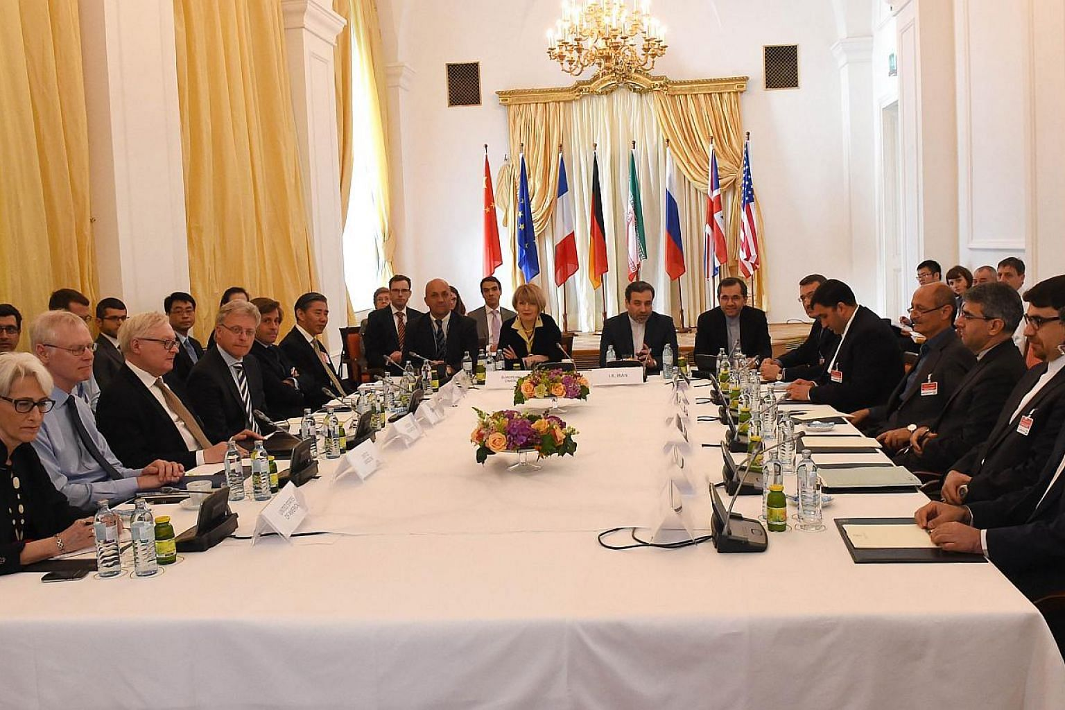 Representatives of the EU, US, Britain, France, Russia, Germany, China and Iran meet for another round of talks in Vienna, Austria on June 12, 2015. -- PHOTO: AFP