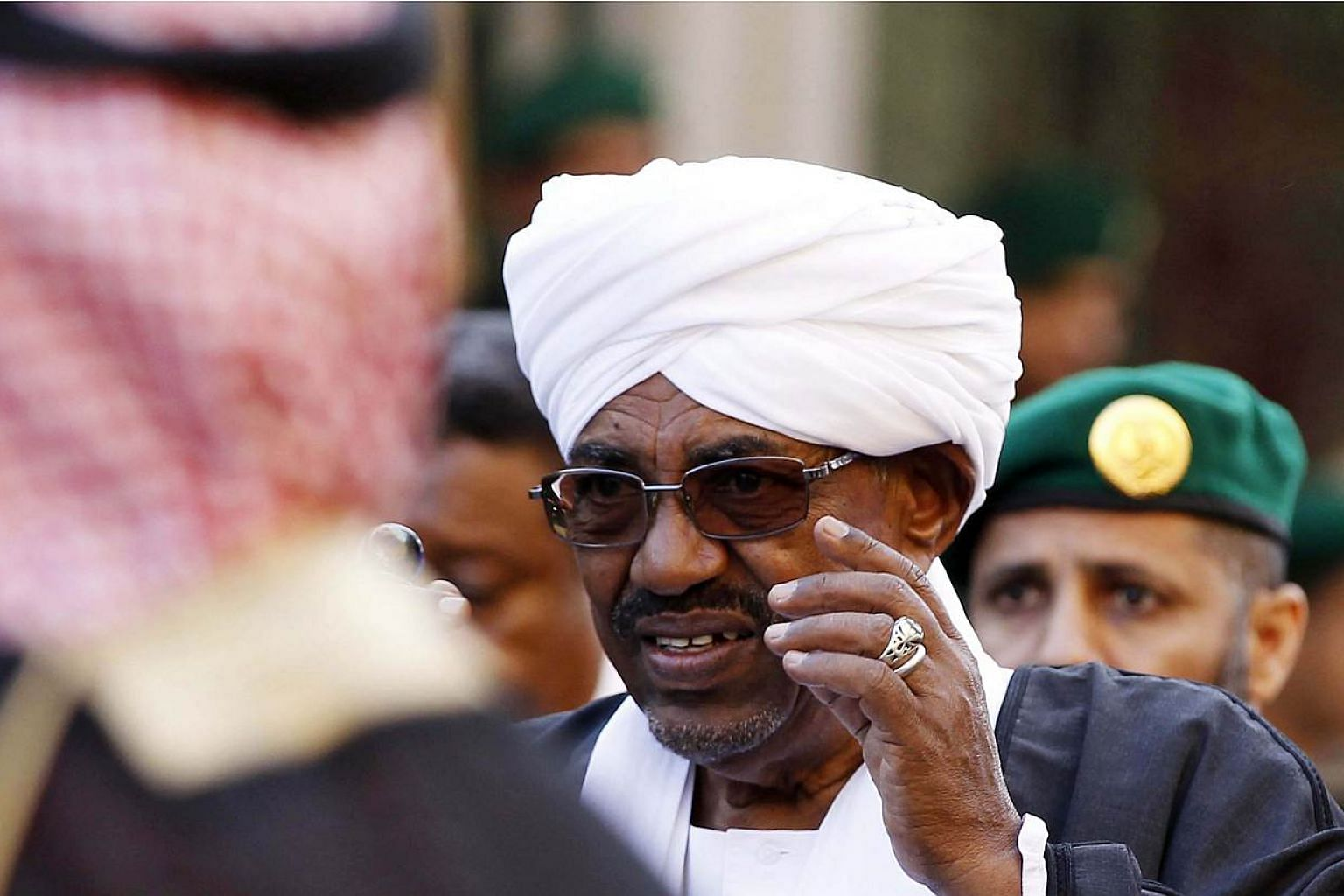 A file picture dated on Jan 23, 2015 shows the President of Sudan, Omar al-Bashir, at the funeral of the late Saudi King, Abdullah bin Abdulaziz al-Saud, in Riyadh, Saudi Arabia. South Africa's High Court barred the Sudanese President from leavi