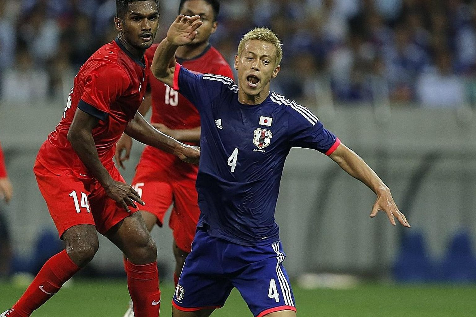 Japanese players, such as Keisuke Honda (right) who featured in a recent World Cup qualifier against Singapore that ended 0-0, have proven themselves to be good enough to ply their trade in Europe.