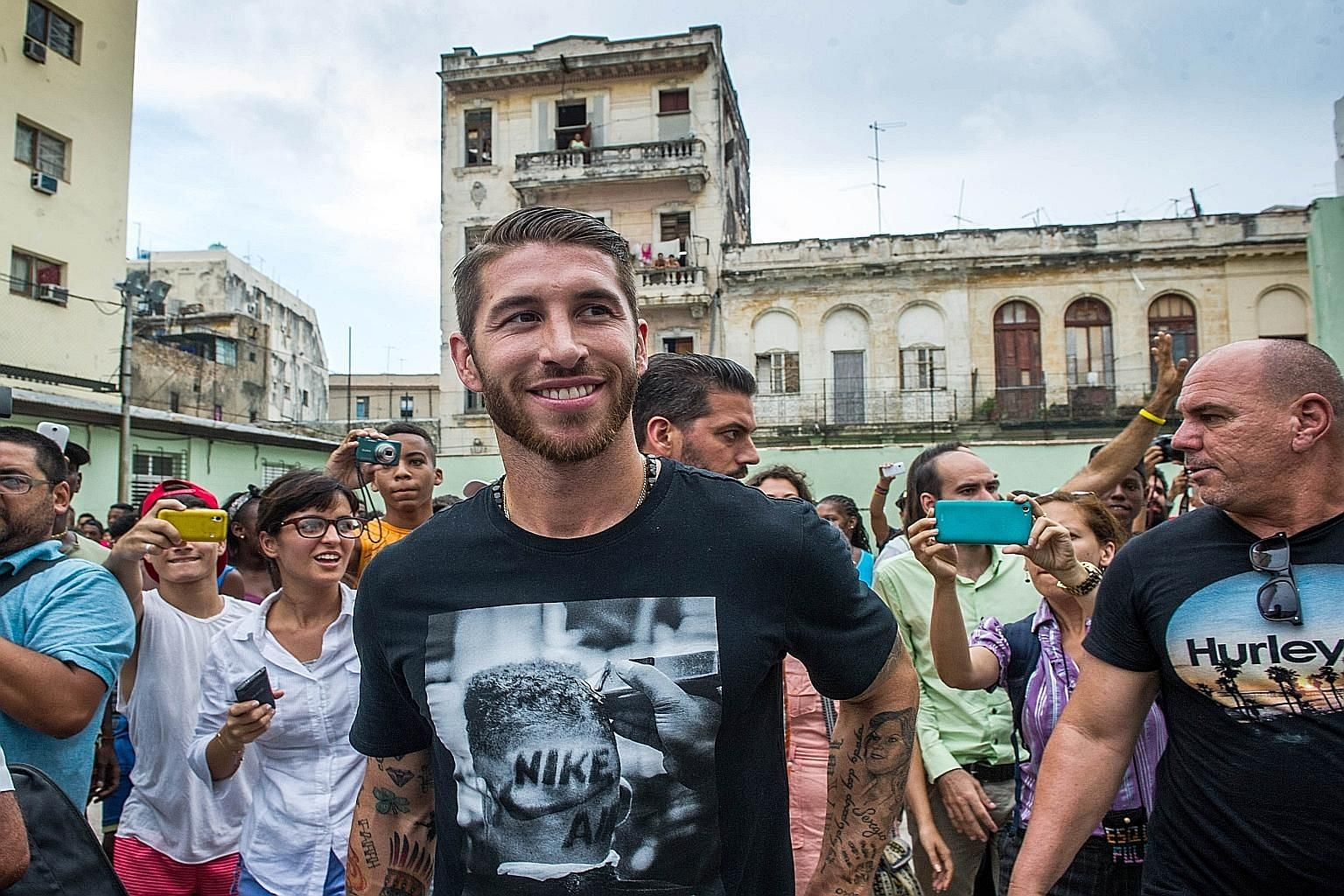 Real Madrid player Sergio Ramos upon his arrival in Havana on June 16. He was in Cuba as Unicef ambassador and played a modified game with children on an outdoor hard court. Negotiations on a contract extension have been at an impasse for months, wit