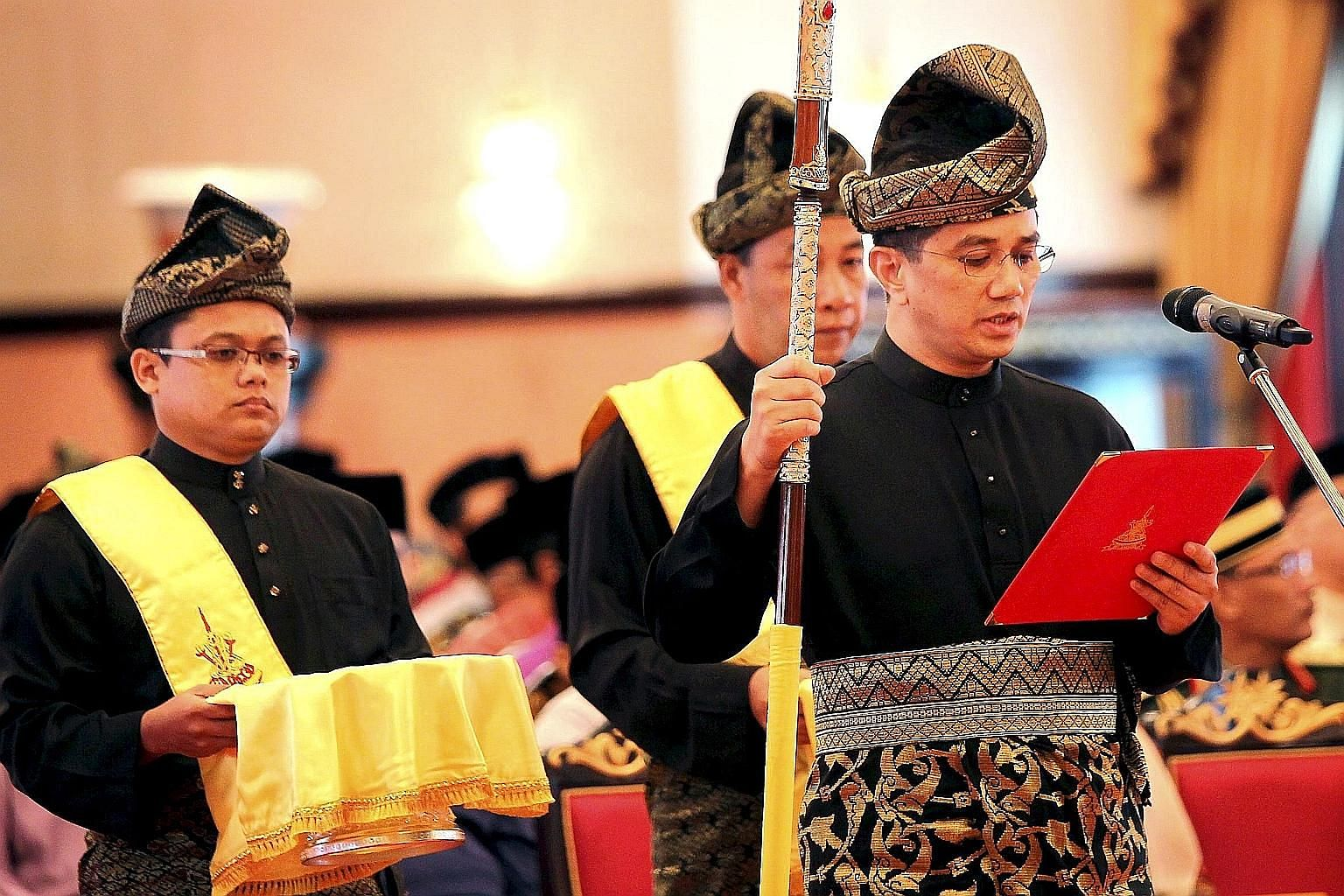PKR deputy president Azmin Ali taking his oath as the new Selangor Menteri Besar in September last year. Mr Azmin and his party leader Wan Azizah Wan Ismail are locked in an internal party conflict.