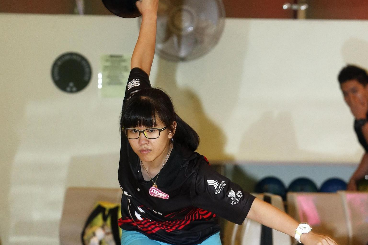 Inaugural women's champion of the Bowling World Open, Joey Yeo, 17, during training. Those who know the Raffles Institution student are not surprised by her success.