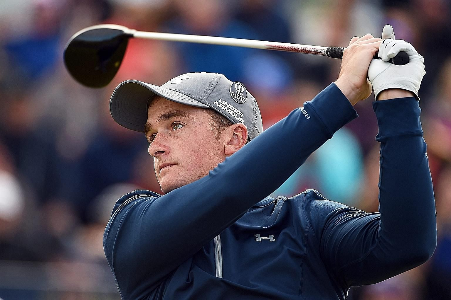 Ireland's Paul Dunne teeing off in the third round of the British Open. He had led Masters and US Open winner Jordan Spieth by a shot going into yesterday's delayed final round.