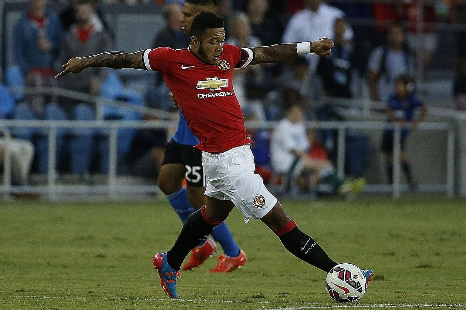 Memphis Depay displaying poise and control during the first half of Manchester United's 3-1 victory against the San Jose Earthquakes at Avaya Stadium, California on Tuesday. Depay, who moved to Old Trafford last month, took only four minutes to open