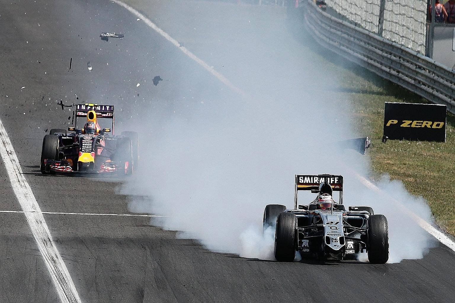 Force India's German driver Nico Huelkenberg (right) struggling to control his car before crashing into the barriers after his front wing broke off along the fastest straight at the Hungaroring. The drivers honoured Jules Bianchi in the perfect way,