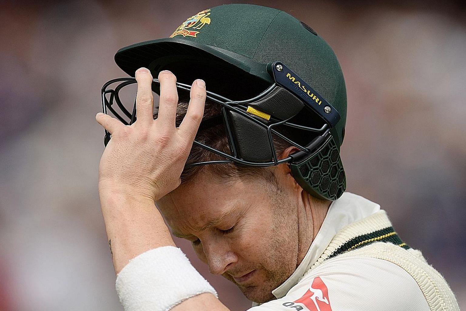 Michael Clarke after being bowled for 10 on the first day of the third Ashes Test at Edgbaston. His side collapsed for 136 in just 36.4 overs and Clarke failed again in the second innings, scoring just three runs.