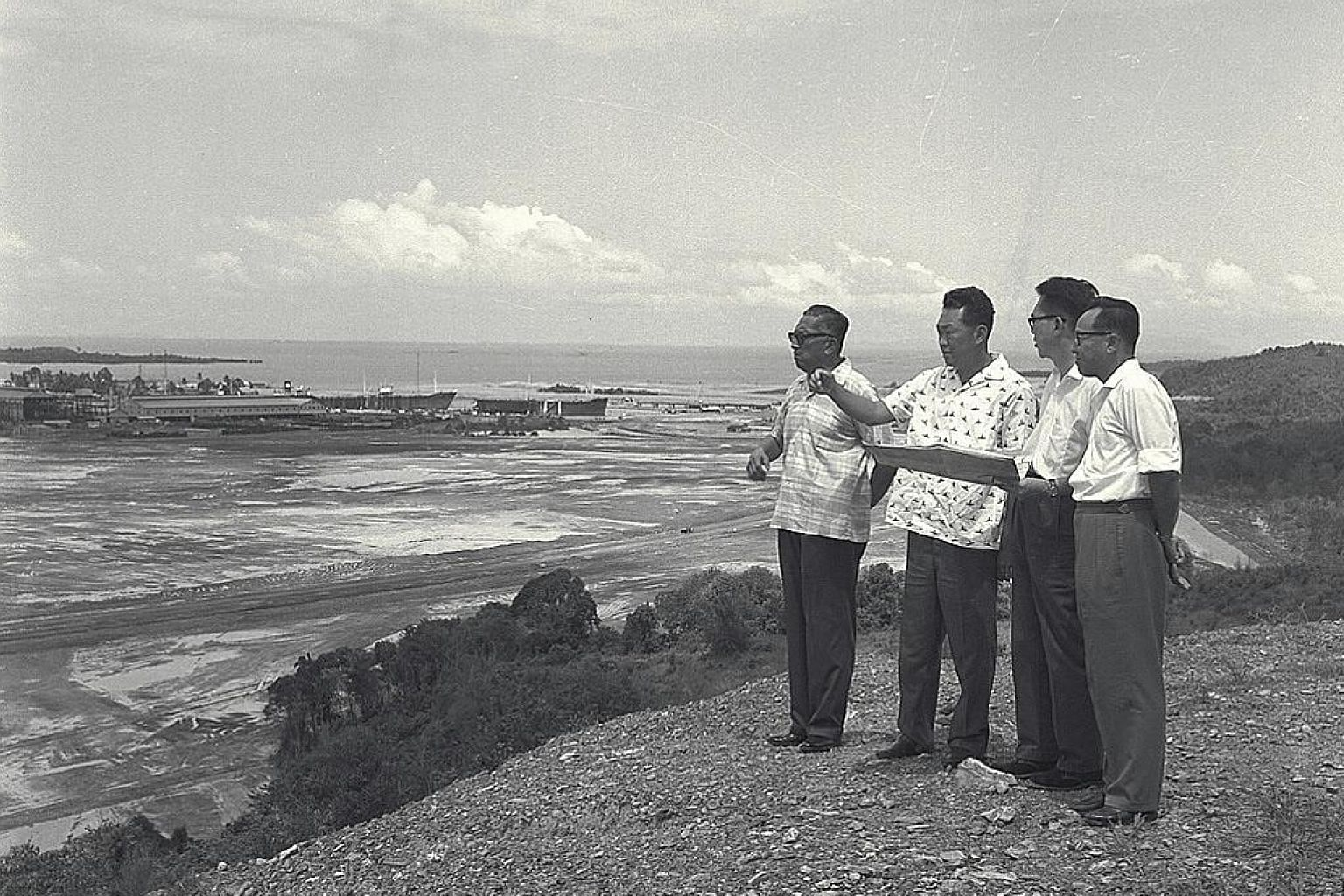 Prime Minister Lee Kuan Yew (top) touring Jurong industrial estate, set up in the 1960s to draw multinationals to the island-state. Former EDB chairman Chan Chin Bock (above), now 82, recalls that in his first year at the board, he went up Jurong Hil