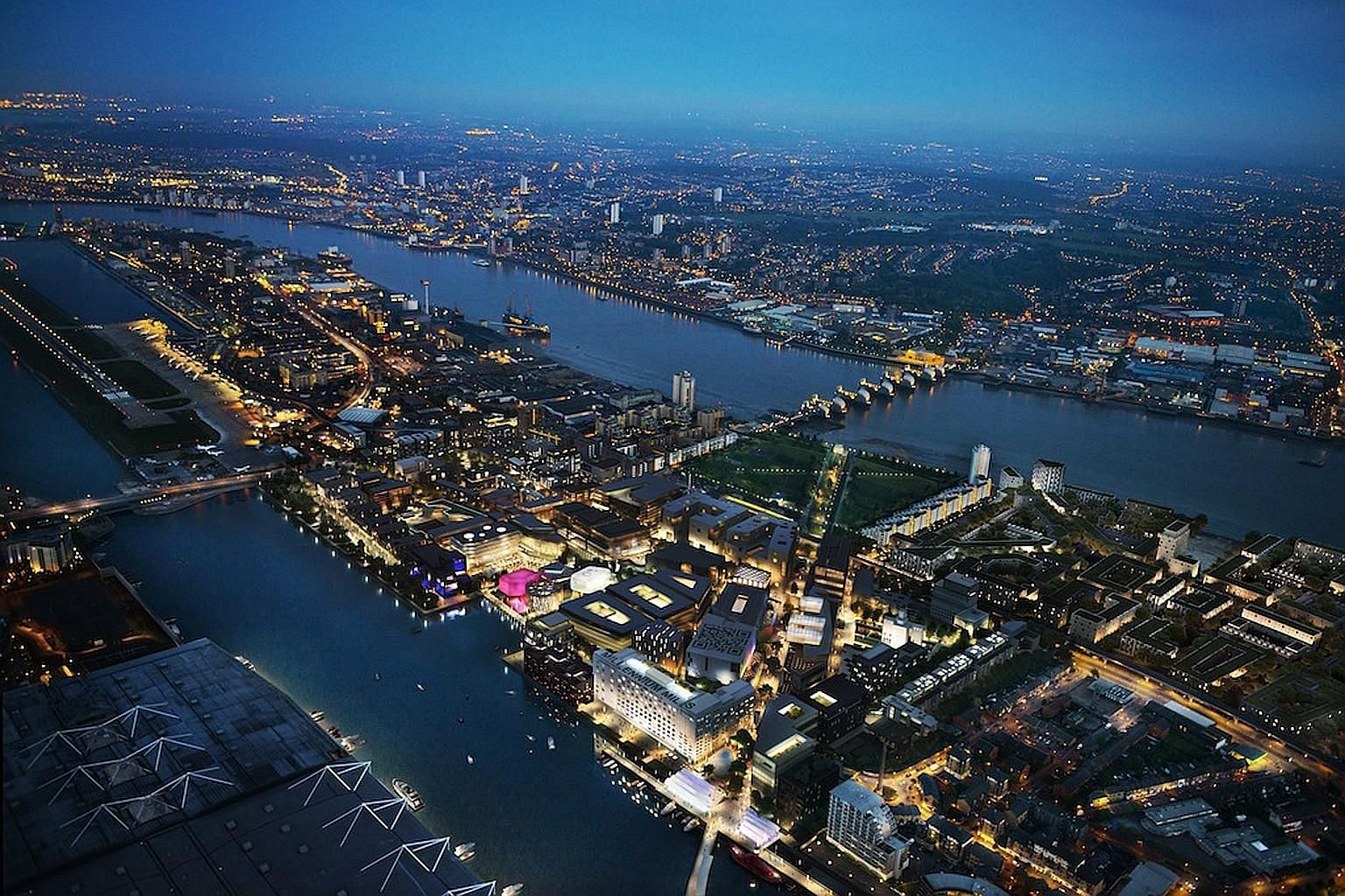 An artist's impression of the Silvertown development in London's Royal Docks area. The 25ha site, with its first phase expected to be completed by 2018, will be a mixed-use project that includes offices, leisure and retail facilities and about 3,000
