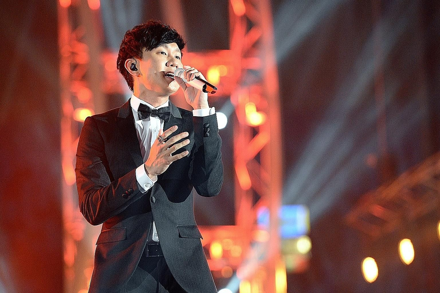 Singer JJ Lin performing at the Sing50 concert.