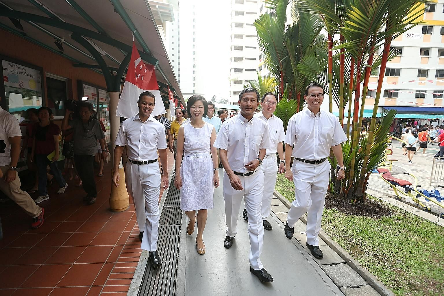 PAP MPs (from far left) Christopher de Souza, Sim Ann, Vivian Balakrishnan and Liang Eng Hwa will defend their seats in Holland-Bukit Timah GRC. Dr Teo Ho Pin (right) will also defend Bukit Panjang SMC.