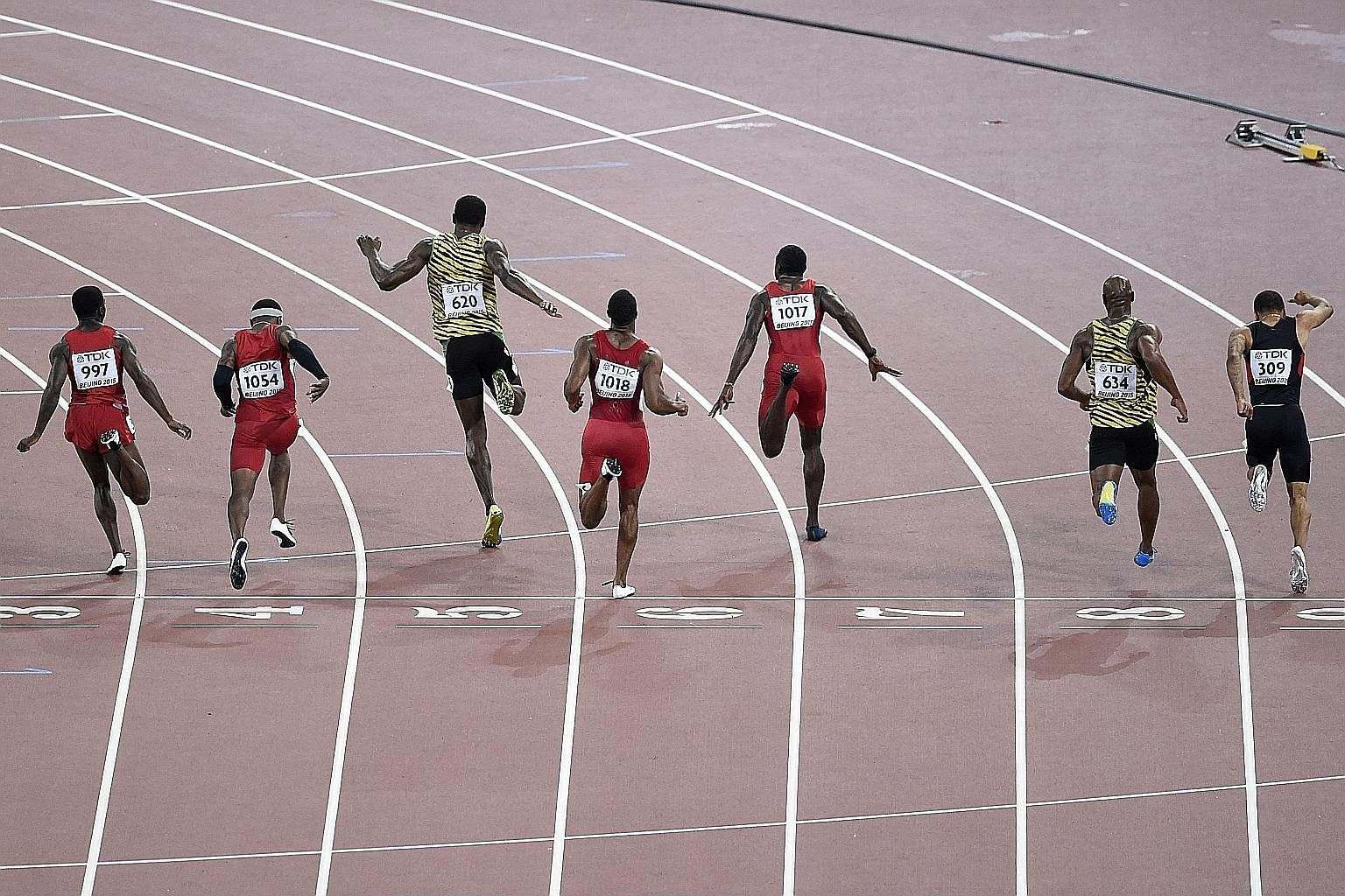 Bolt (centre) often makes a quick impression but it's enough to register in one's mind.