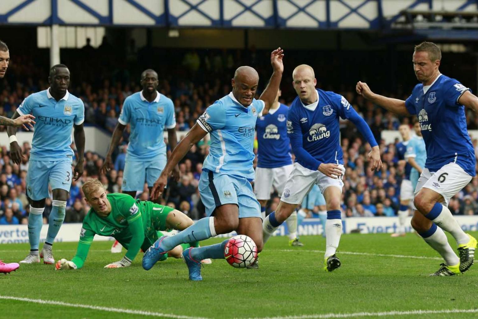 """Vincent Kompany (centre) mopping up in his penalty box in Sunday's 2-0 win at Everton. The Manchester City captain said: """"It is so important in any top team to have quality players all over."""""""