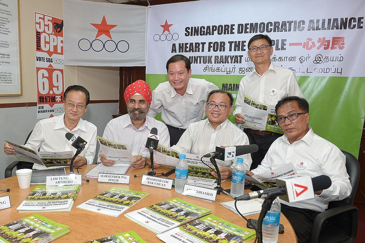 The SDA's Pasir Ris-Punggol GRC team members (from left) Arthero Lim Tung Hee, Harminder Pal Singh, Ong Teik Seng, Desmond Lim Bak Chuan, Wong Way Weng and Abu Mohamed at the press conference yesterday. This is the third time the party is contesting