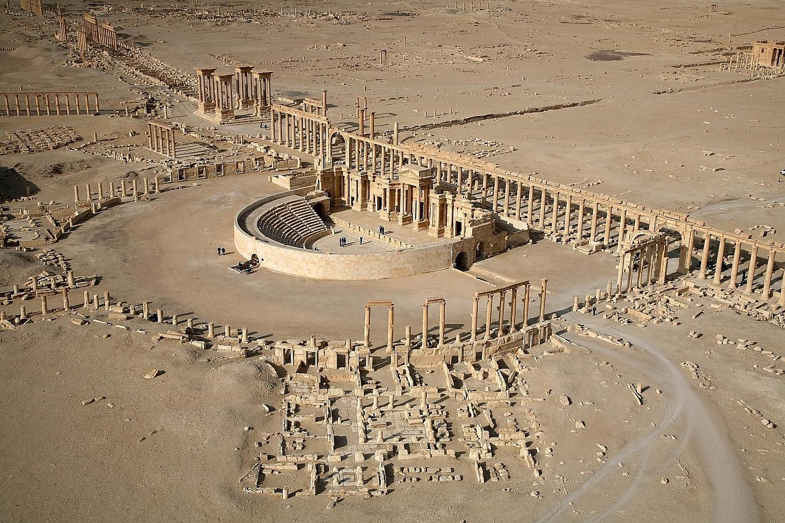A 2009 picture showing part of the World Heritage site of Palmyra in Syria. The Islamic State in Iraq and Syria has blown up three tower tombs along with two famed temples there. The amphitheatre has been exploited as a stage for the militants' grisl