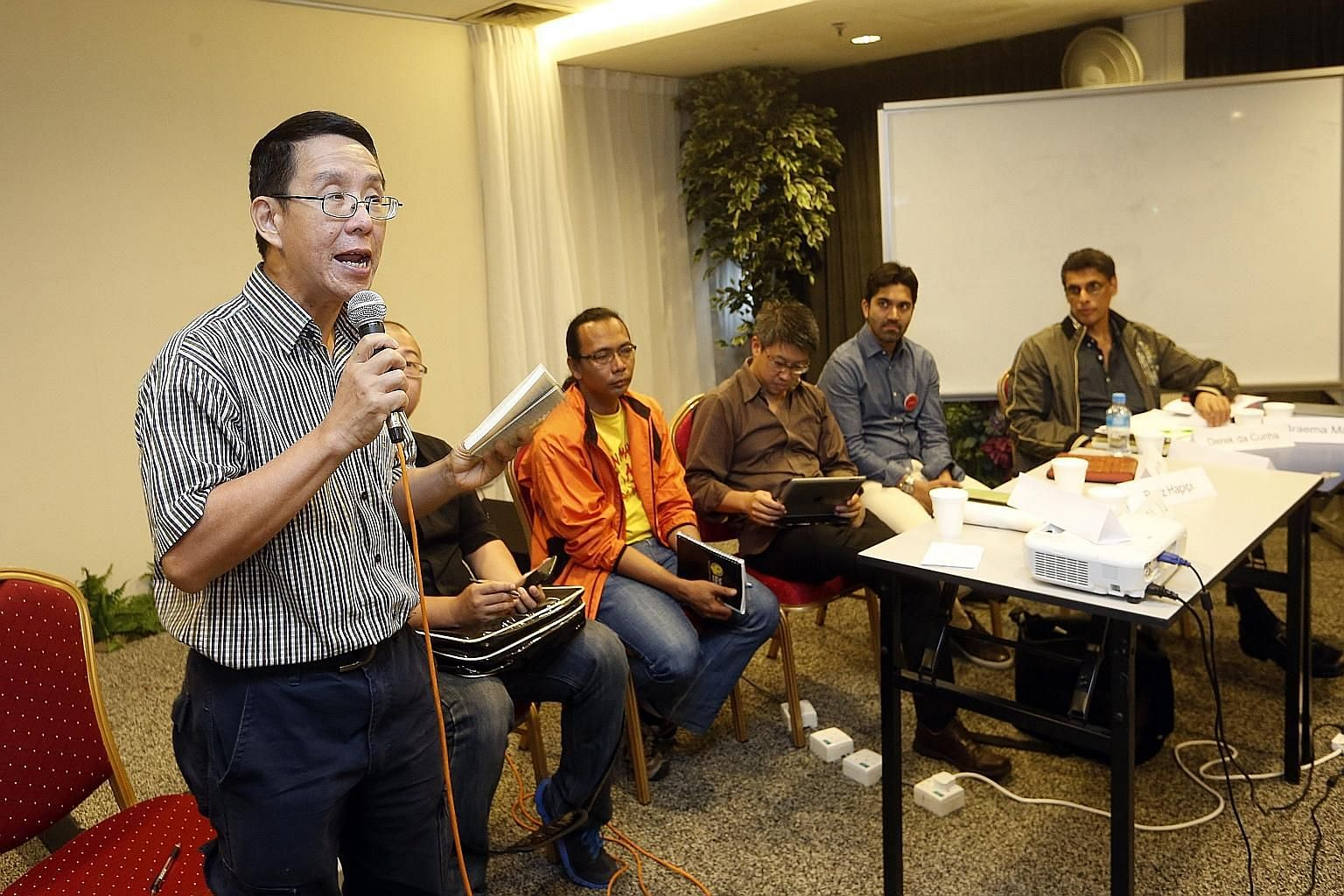 (From left) Blogger Alex Au, Mr Terry Xu of The Online Citizen, Mr Rafiz Hapipi of Maruah, Assistant Professor of Law Jack Lee of Singapore Management University, writer Sudhir Vadaketh and political analyst Derek da Cunha at yesterday's post-electio