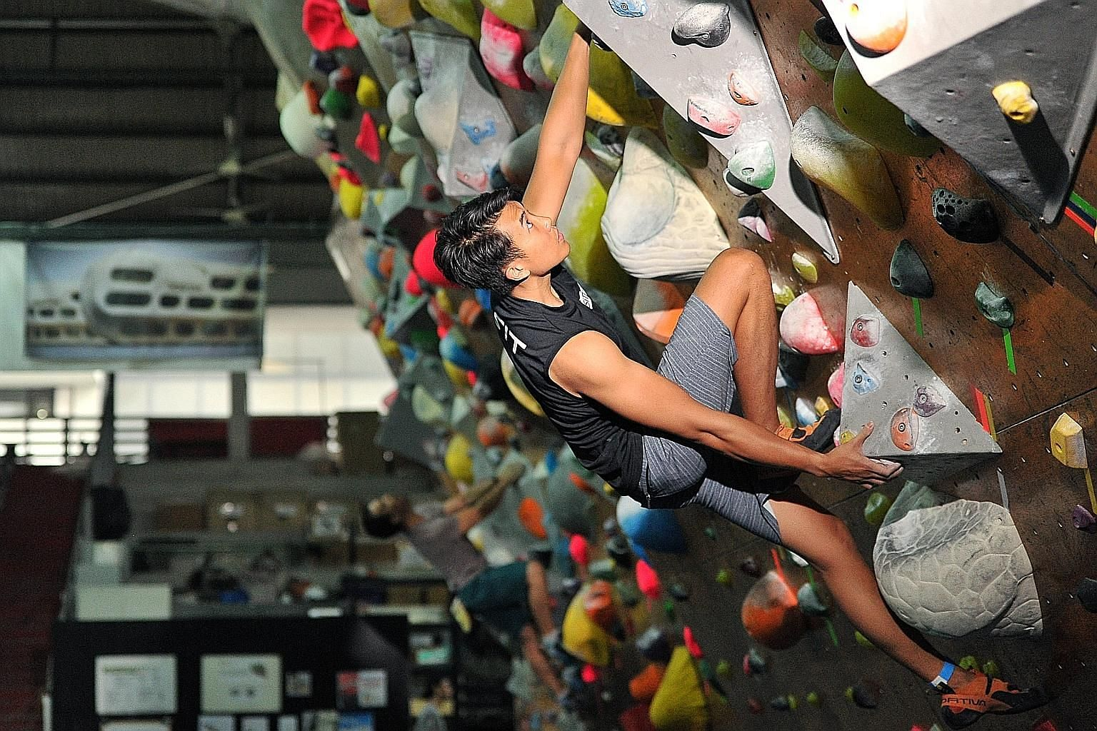 Undergraduate Brian Oh was hooked on rock climbing after feeling the adrenalin rush of the sport. He now trains three or four times a week with each session stretching for five to seven hours.