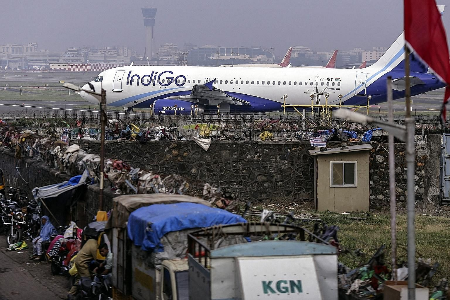 An IndiGo plane at Chhatrapati Shivaji International Airport in Mumbai yesterday. IndiGo's initial public offering will be India's biggest in almost three years. It is the only Indian airline to have made a profit in each of the past seven years.