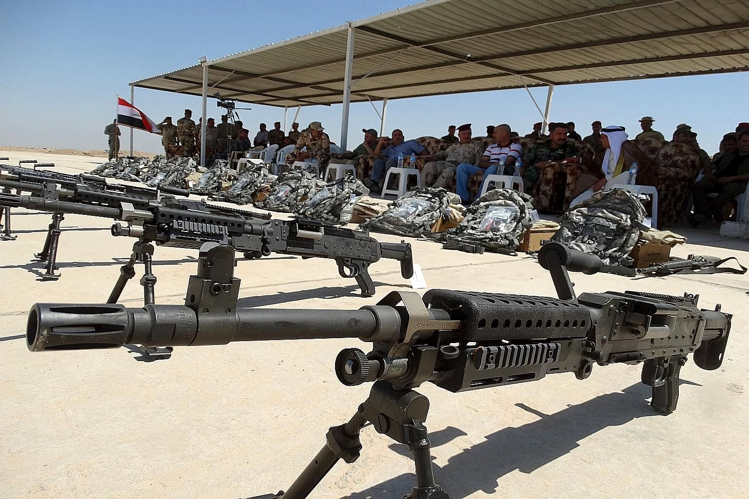 Weapons from the US presented to Sunni tribesmen during a ceremony at Camp Habbaniyah, in Ramadi, last month.