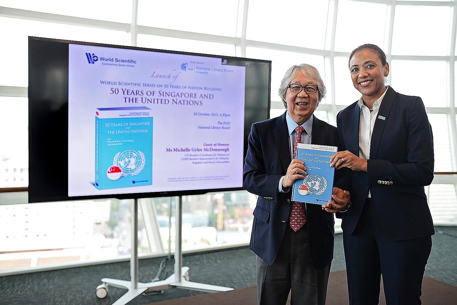 Prof Tommy Koh and Ms Michelle Gyles-McDonnough at the launch of the book at the National Library yesterday.