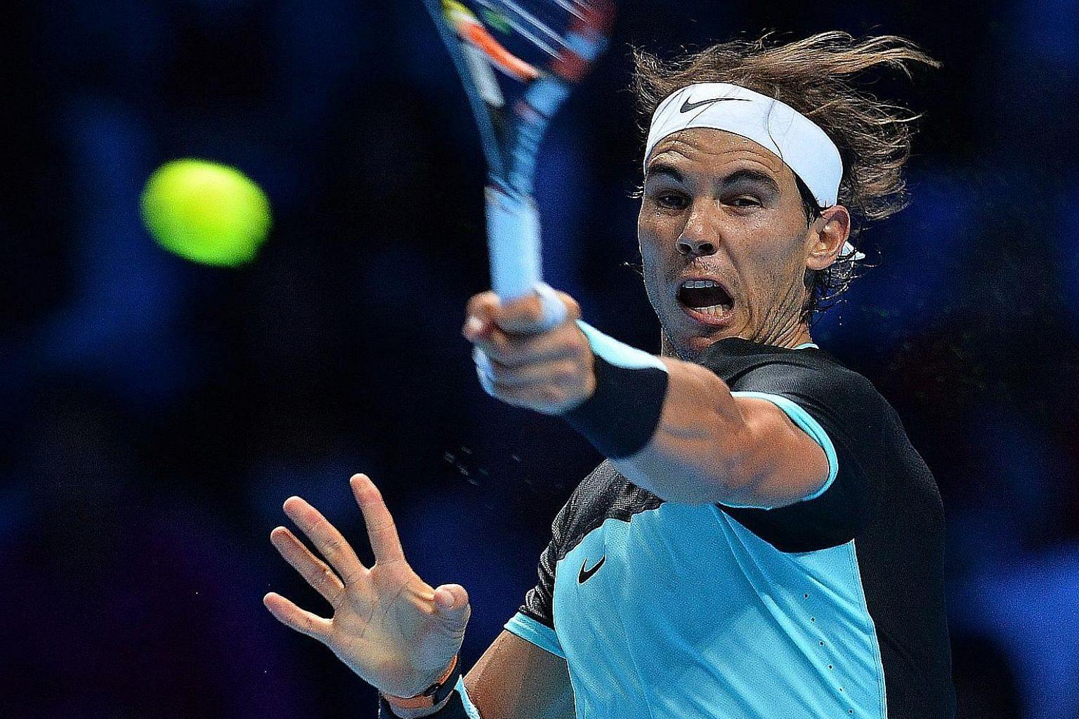 Rafael Nadal on his way to beating Stan Wawrinka 6-3, 6-2 in the ATP World Tour Finals on Monday. The resurgent Spaniard reached the finals in Beijing and Basel as well as the semi-finals in Shanghai. Now ranked world No. 5 after dropping to No. 10,