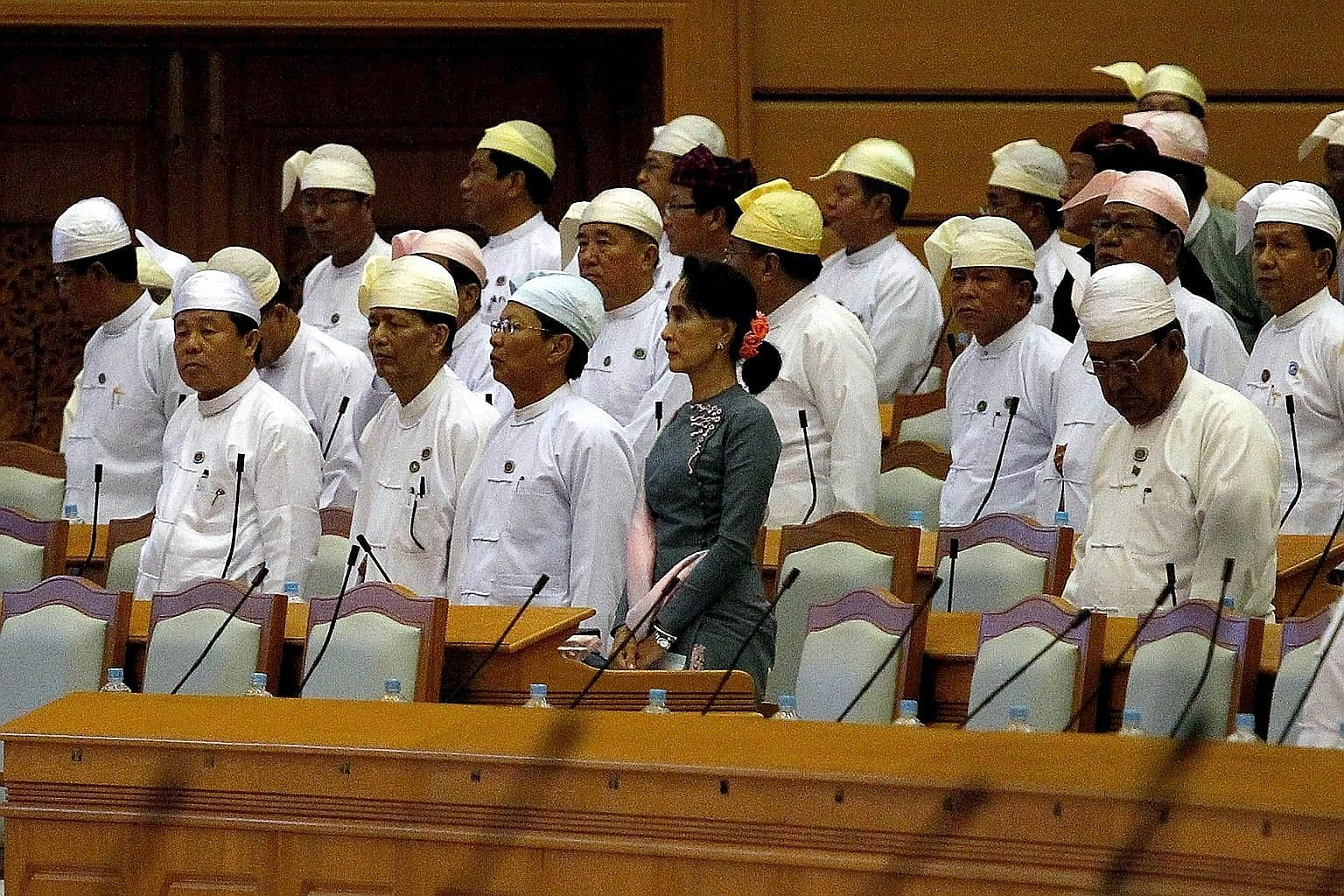National League for Democracy leader Aung San Suu Kyi attending Myanmar's first Parliament meeting after the Nov 8 general election. After her party's landslide victory, Asia is cautiously awaiting the shape of the government to be formed at the end