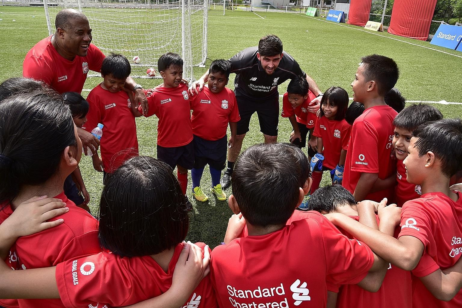 John Barnes during a training session at the Home United Youth Academy for about 100 youth yesterday.