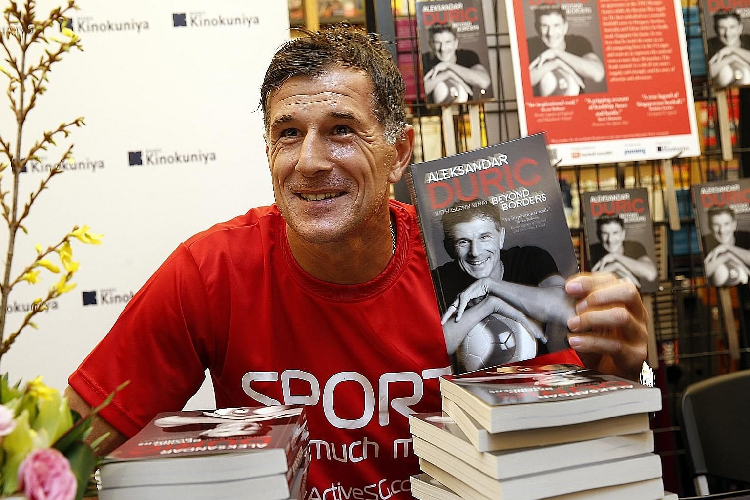 Aleksandar Duric at the book signing of his new autobiography Beyond Borders, which recounts his life journey. The 45-year-old will be the principal of the newly set up ActiveSG Football Academy.