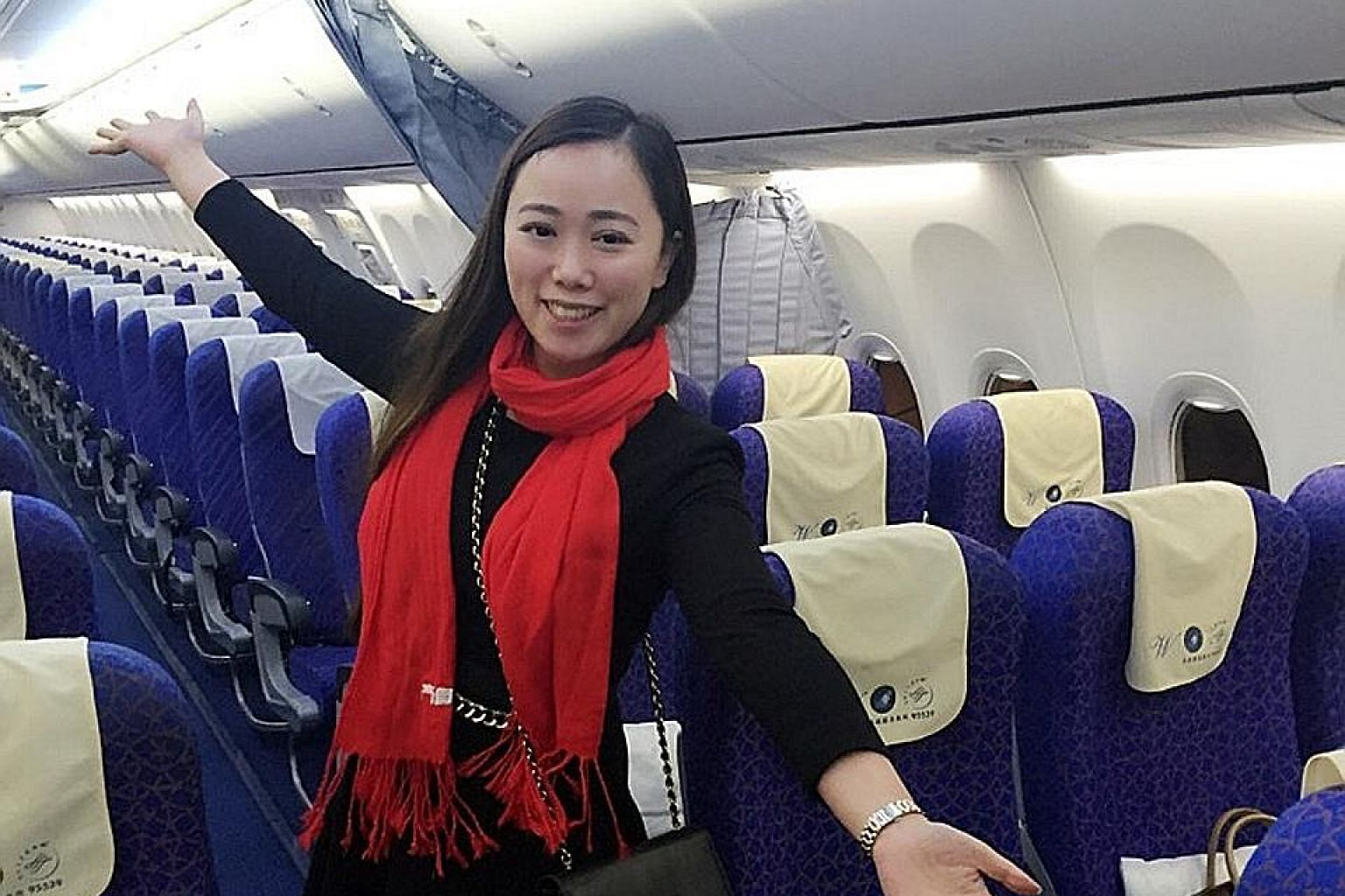 Ms Zhang found herself the sole passenger of a plane when a 10-hour delay winnowed down other travellers. Her online posts of the experience drew hundreds of likes, shares and comments from Chinese netizens.