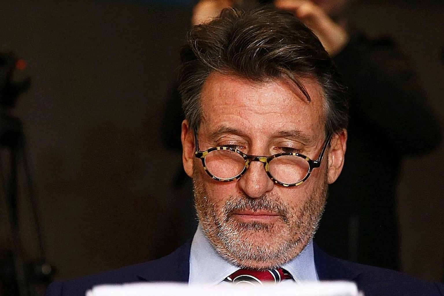 """IAAF president Sebastian Coe, seen here at a news conference in January, has been accused by German researchers of giving """"untrue"""" and """"misleading"""" evidence to a British parliamentary investigation into blood doping in sport."""