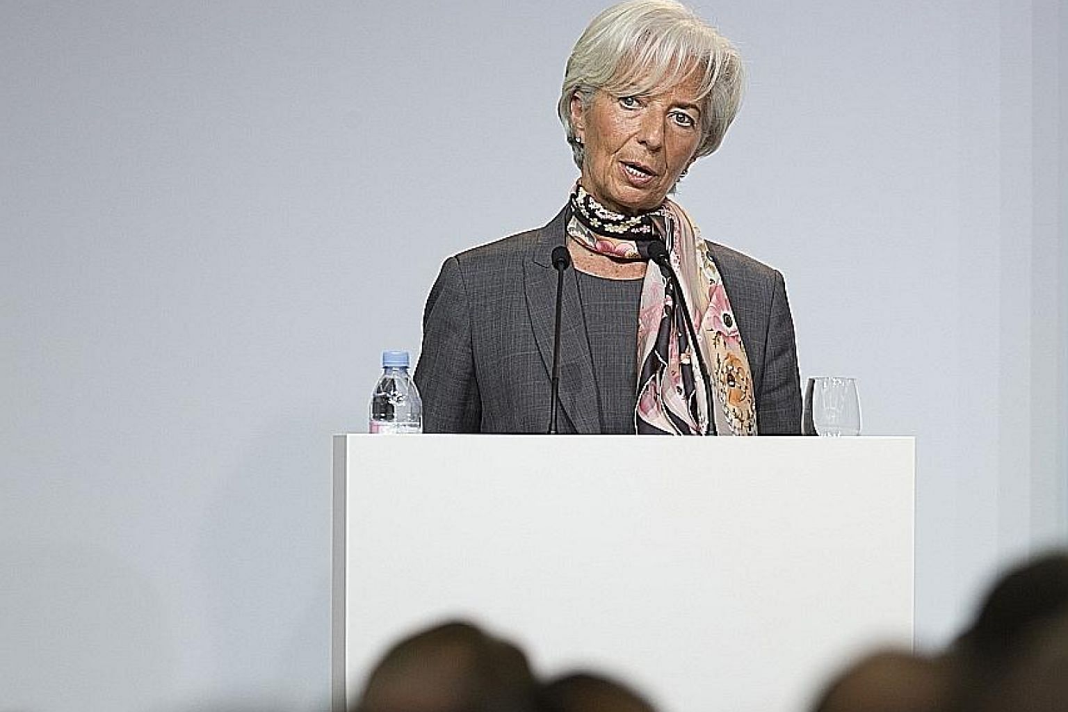 "Ms Lagarde speaking at Goethe University in Frankfurt yesterday. The IMF chief said the recovery from the global financial crisis of 2007-09 ""remains too slow, too fragile and risks to its durability are increasing""."