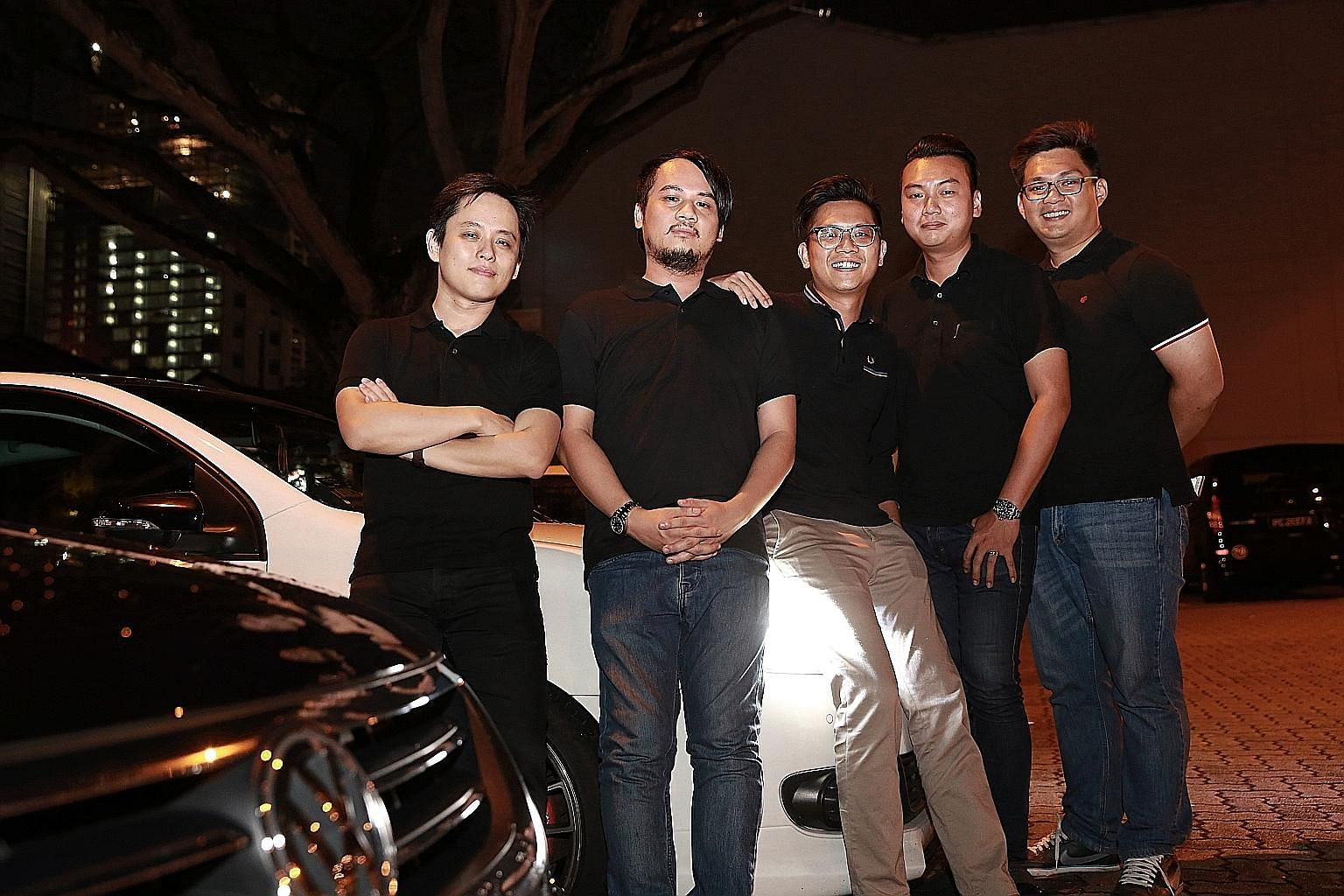 The Jocky team is made up of (from far left): head of design Roy Ho, 32; chief technical officer Adrian Tee, 33; CEO Bernard Lim, 31; head of partnerships Louis Kok, 29; and head of operations Tommy Tan, 30. The start-up has created a mobile app for