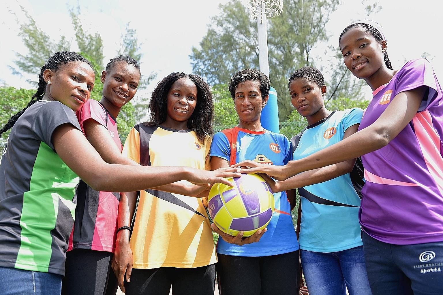 From left: The international players in Singapore's Netball Super League this year are Sophie Komba (Magic Marlins), Lilian Sylidion (Blaze Dolphins), Irene Kanile (Fier Orcas), Alesi Waqa (Mission Mannas), Hildah Binang (Tiger Sharks) and Letang Mog