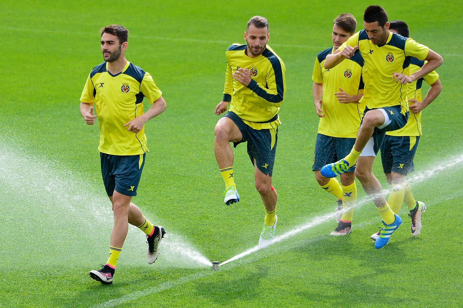 Villarreal players training ahead of their clash against Liverpool with a sprinkling of hope of reaching a major continental final. They fell just short in 2004, 2006 and 2011.