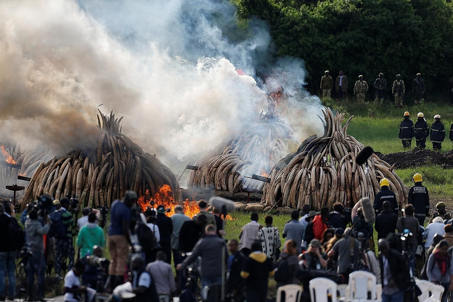 The ivory bonfire was fuelled by a mix of thousands of litres of diesel and kerosene injected through steel pipes buried in the ground leading into the tusk pyramids.
